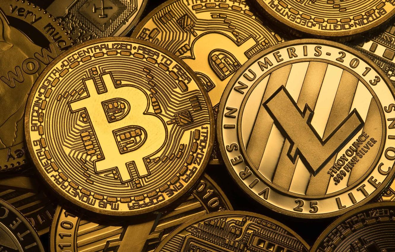 Фото обои лого, монеты, coins, bitcoin, биткоин, litecoin, лайткоин