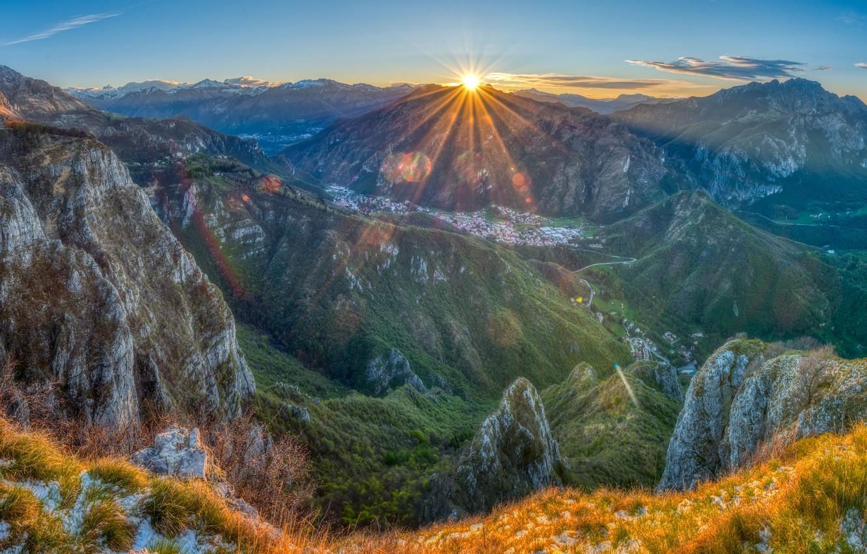 Фото обои горы, Франция, утро, Pyrenees