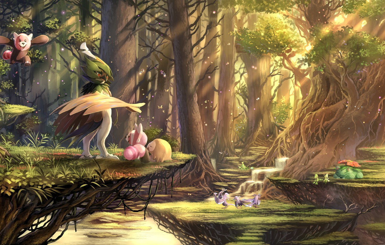 Фото обои Лес, Покемон, Pokemon, Покемоны, karamimame