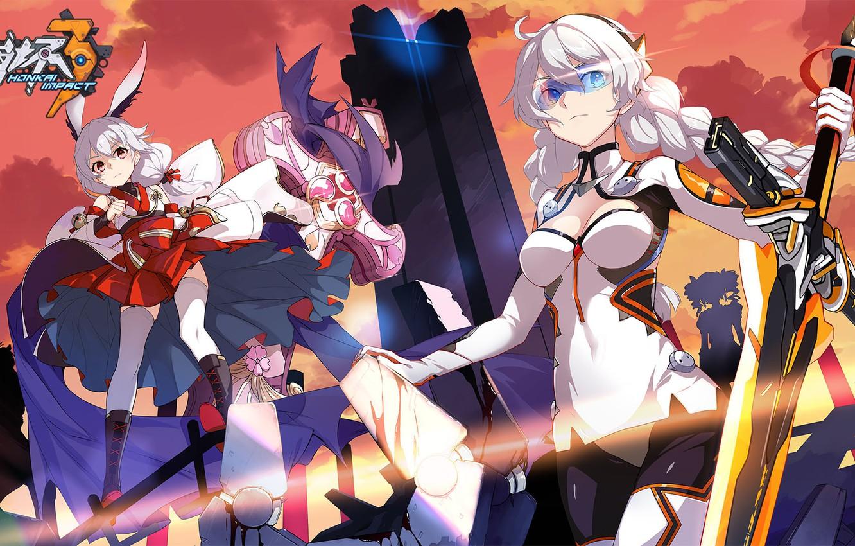 Фото обои оружие, девушки, игра, меч, аниме, очки, Honkai Impact 3rd