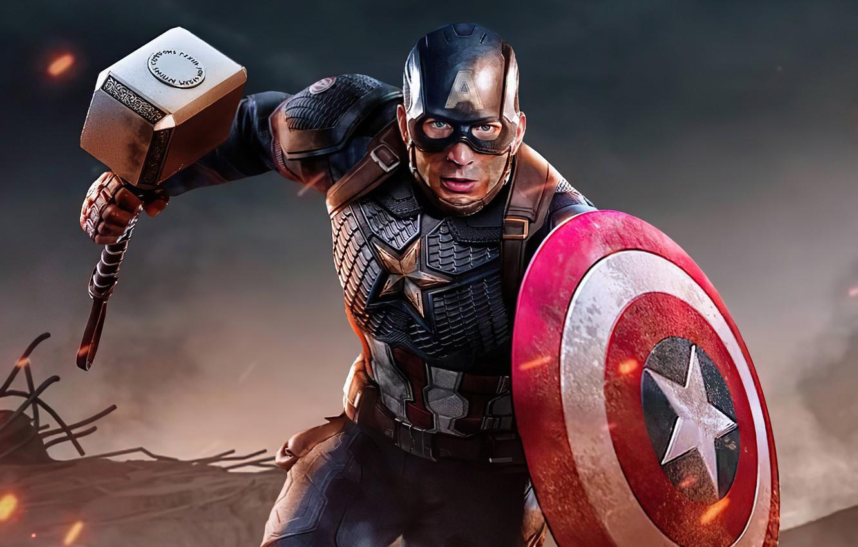 Фото обои молот, герой, костюм, щит, Marvel, Captain America, Chris Evans