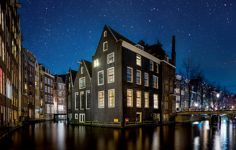 Обои канал, нидерланды, дома, ночь. Города foto 6