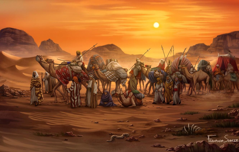 Фото обои Закат, Рисунок, Игра, Караван, Египет, Art, Game, Illustration, Верблюды, Game Art, Board Game, Century Spice …