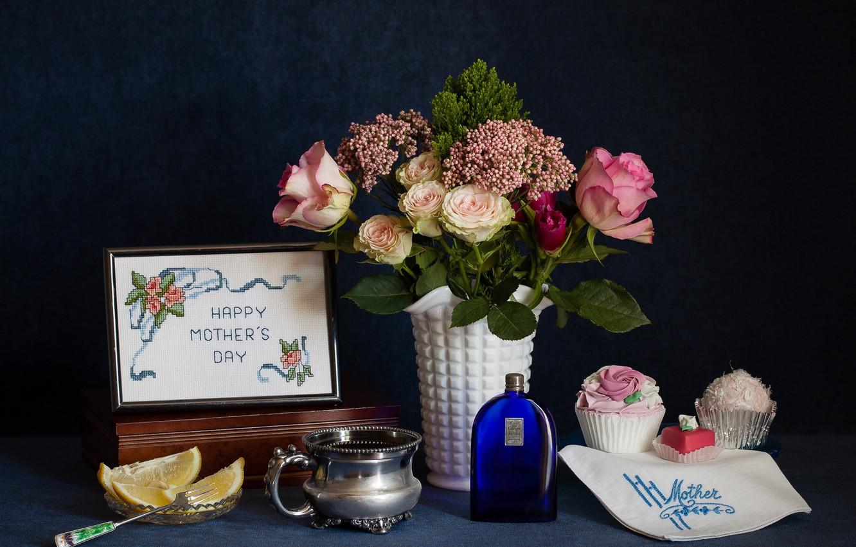 Фото обои цветы, лимон, розы, букет, цитрус, натюрморт, пирожные
