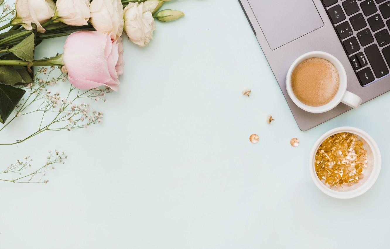 Фото обои цветы, ноутбук, pink, flowers, coffee cup, эустома, laptop, чашка кофе, eustoma