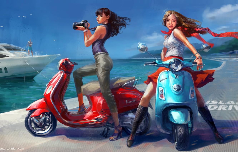 Фото обои море, лето, девушки, отдых, яхта, арт, скутер, Vadim Gousmanov, Island Drive