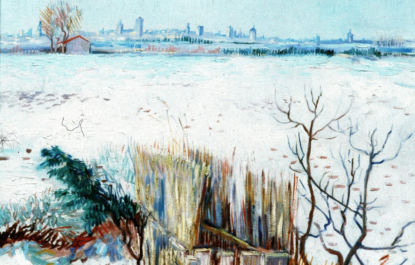 Фото обои зима, Vincent van Gogh, with Arles in the Background, Snowy Landscape