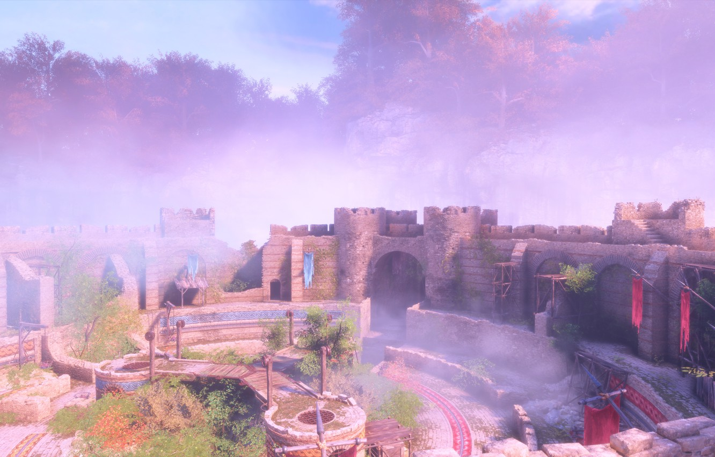 Фото обои замок, скалы, внутренний двор, a plague tale: innocence