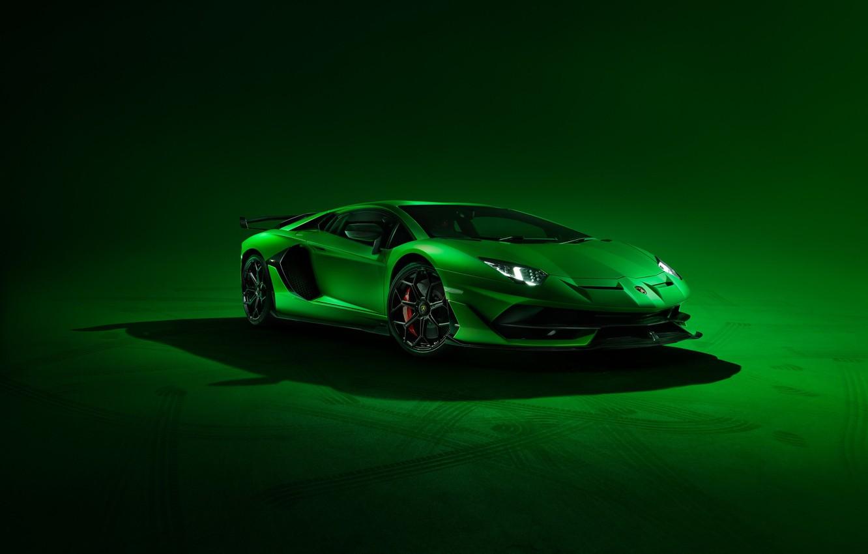 Фото обои Lamborghini, Green, Front, Aventador, Supercar, SVJ