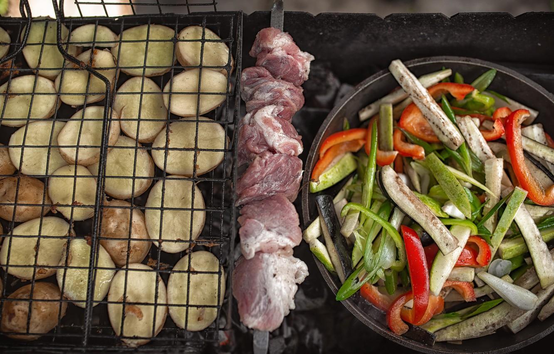 Фото обои мясо, овощи, картошка