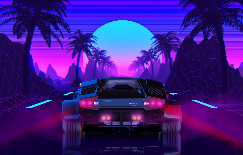 Фото обои Солнце, Lamborghini, Фон, 80s, Neon, Countach, Lamborghini Countach, 80's, Synth, Retrowave, Synthwave, New Retro Wave, …