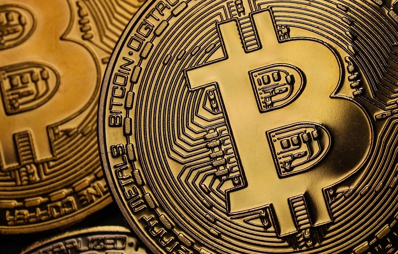 Фото обои размытие, fon, bitcoin, биткоин, btc, менеты