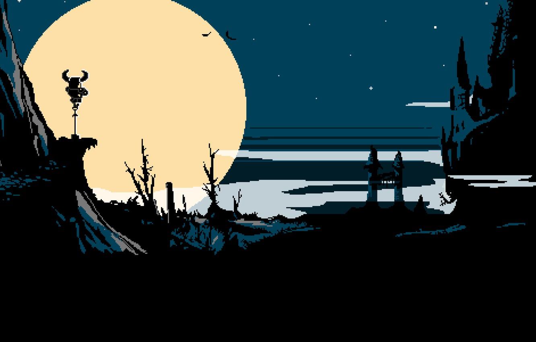 Фото обои облака, скала, луна, пиксели, башн