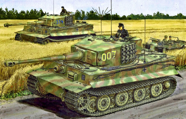 Фото обои дорога, машина, солдаты, танкист, Вторая Мировая война, производства, Tiger I, Западный фронт, позднего, Pz.KpfW.VI Ausf.E