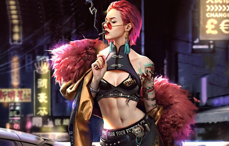 Фото обои girl, pink hair, art, tatoo, sun glasses