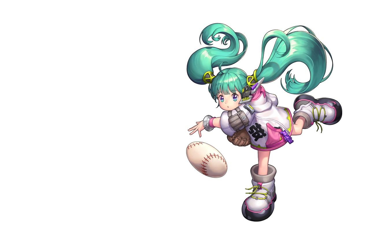 Фото обои мяч, арт, детская, Purple Moon, анимеЮ вокалоид, Baseball Girl_2018
