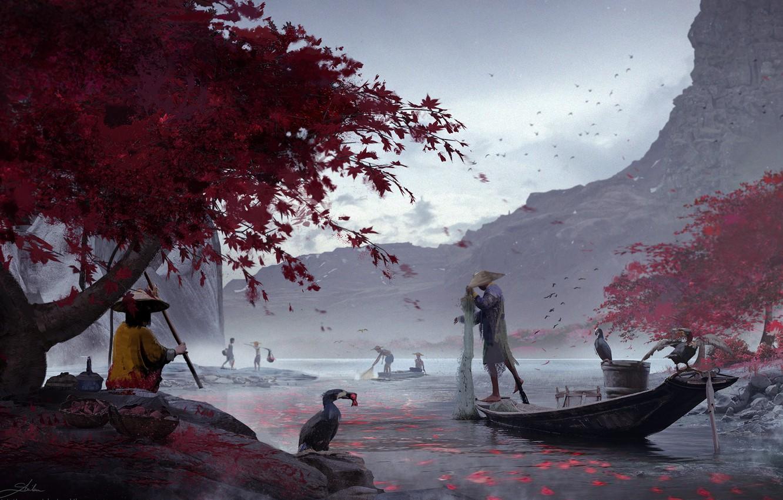 Фото обои птицы, река, лодка, человек