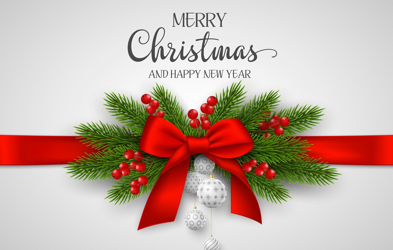 Фото обои шарики, коробка, подарок, Рождество, лента, Новый год, хвоя, бантик