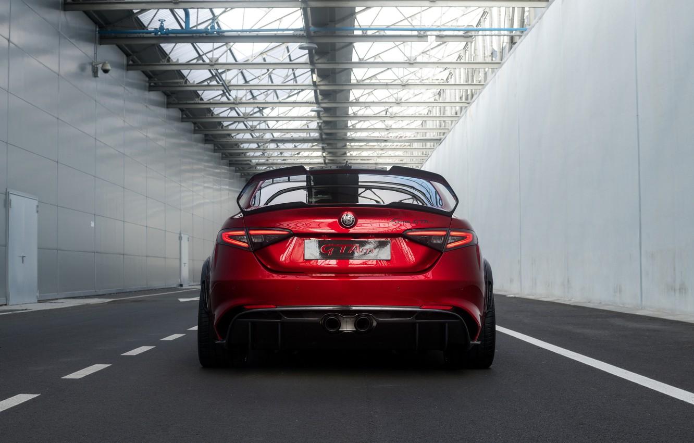 Фото обои крыло, Alfa Romeo, вид сзади, Giulia, GTAm, 2020, Gran Turismo Alleggerita modificata