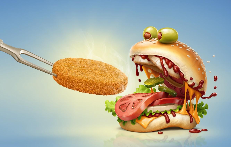 Фото обои рендеринг, еда, арт, томат, оливки, гамбургер, fast food, огурчик, котлетка
