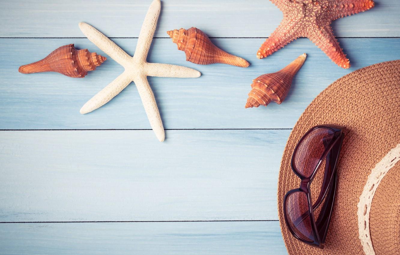 Фото обои пляж, фон, доски, звезда, ракушки, summer, beach, wood, marine, starfish, seashells
