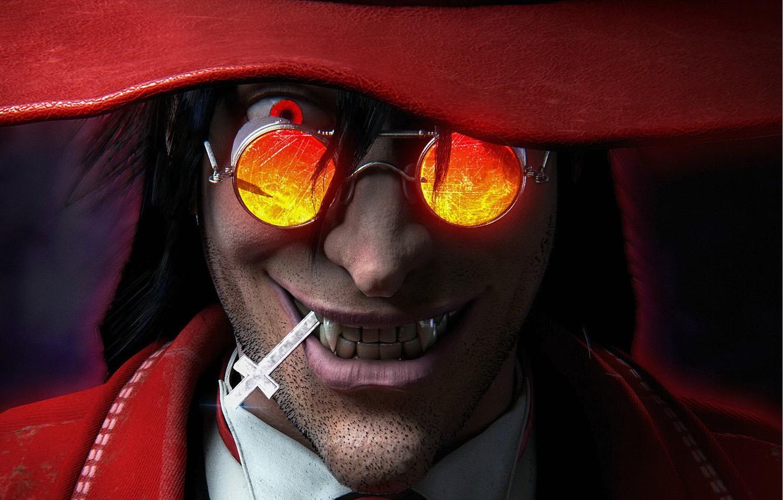 Фото обои улыбка, крест, очки, вампир, Алукард, Hellsing, Хеллсинг, vampire, Alucard, высший вампир