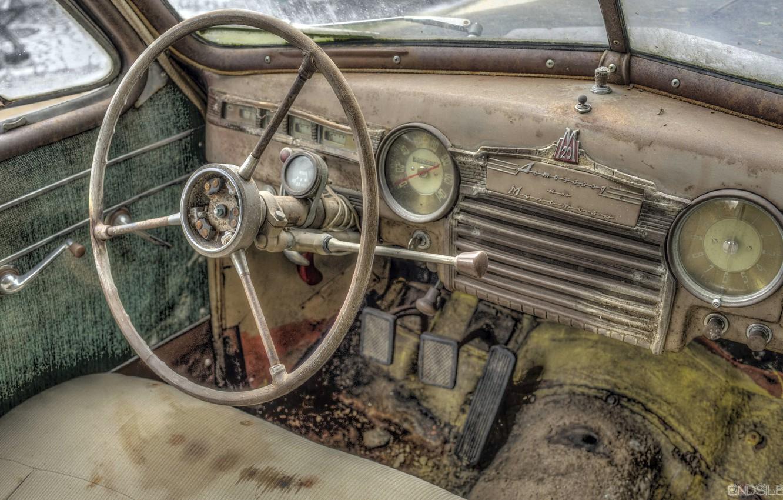 Фото обои машина, лом, Pobeda, GAZ-M20