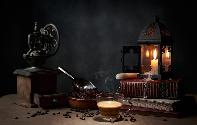 Фото обои стиль, книги, лампа, кофе, свечи, кружка, натюрморт, кофейные зёрна, кофемолка, совок