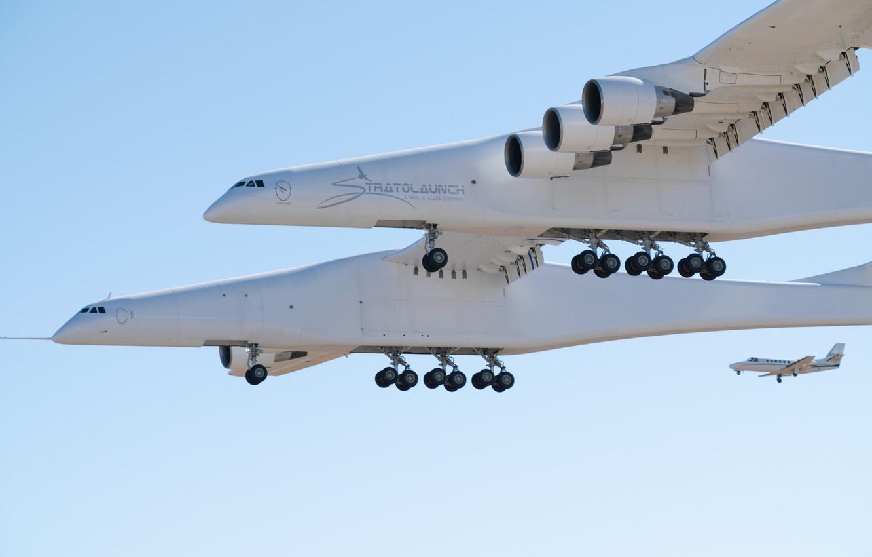 Фото обои Посадка, Шасси, Stratolaunch, Stratolaunch Model 351, Stratolaunch Systems, Самолёт-носитель, Механизация крыла