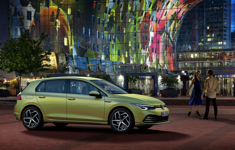Фото обои Volkswagen, хэтчбек, Golf, Голландия, Netherlands, Фольксваген, Гольф, hatchback, Роттердам, Rotterdam, compact car, 2020, Фольксваген Гольф, …