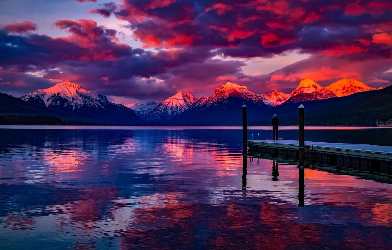Фото обои свобода, снег, закат, горы, красота, силуэт, Монтана, США, sunset, freedom, mountains, snow, beauty, очарование, silhouette, …