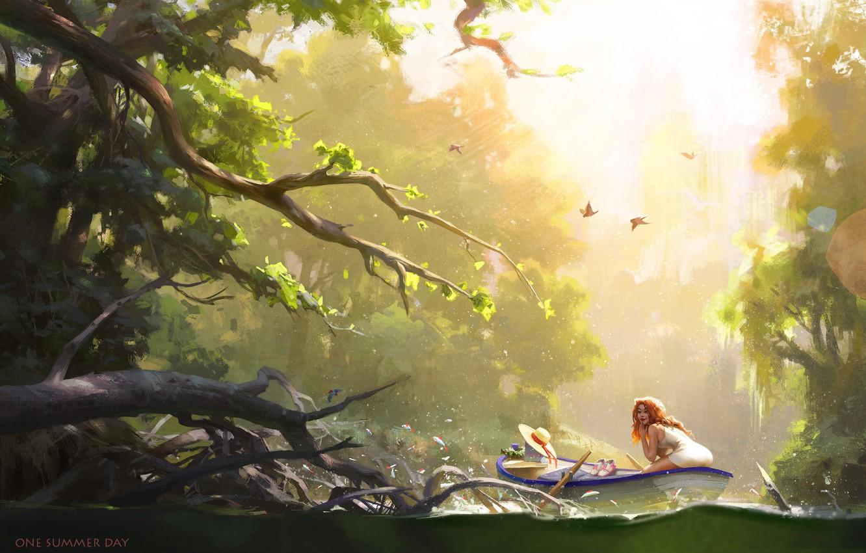 Фото обои лето, Природа, Девушка, Рисунок, Река, Лодка, Fish, Арт, Ражая, Nikolai Litvinenko, One summer day, by ...