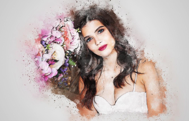 Фото обои цветы, фон, девушка art