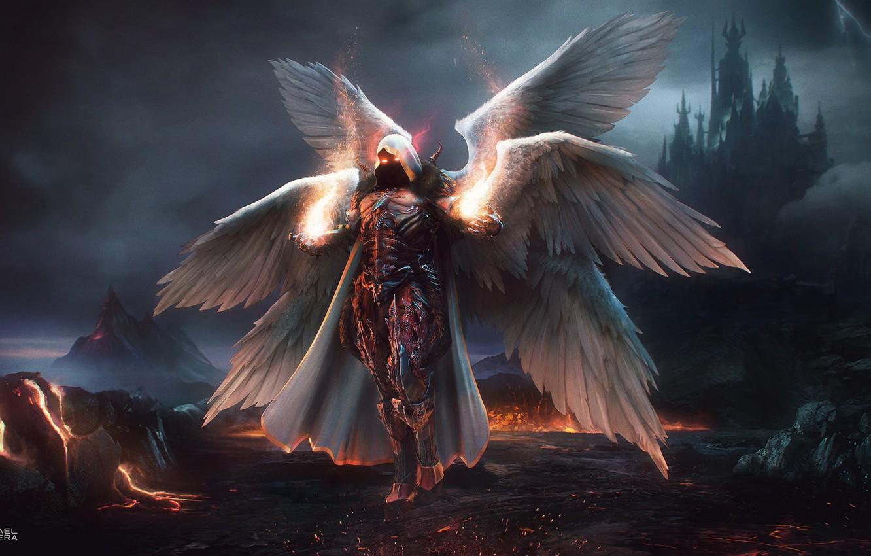 Фото обои Fantasy, Blizzard, Art, Diablo 3, Diablo, Angel, Concept Art, Archangel, Auriel, Character, The Daemon Auriel
