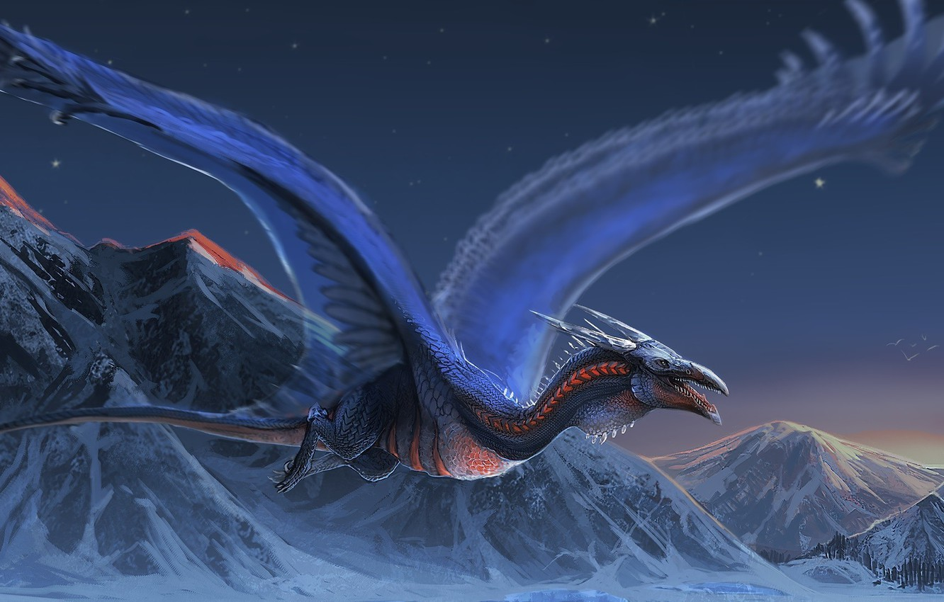 Фото обои fantasy, Dragon, landscape, night, wings, mountains, snow, digital art, artwork, fantasy art, creature