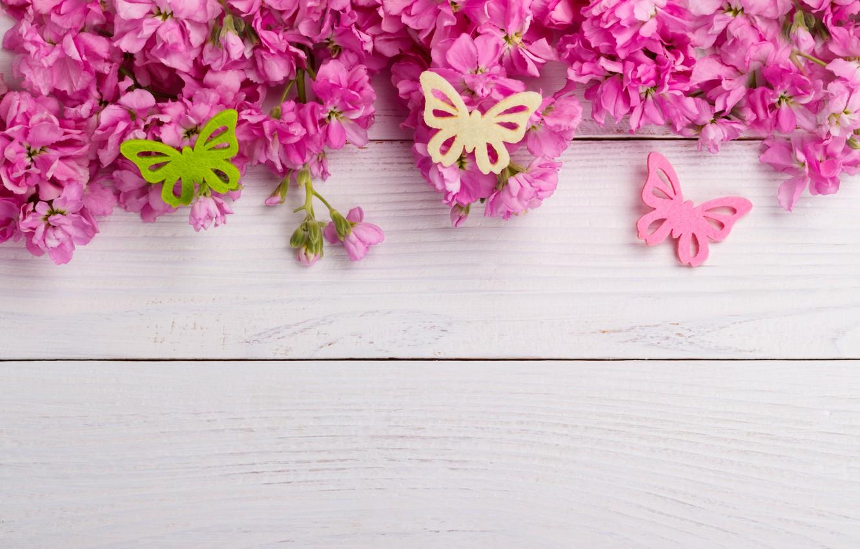 Фото обои бабочки, цветы, розовые, wood, pink, flowers, spring, butterflies