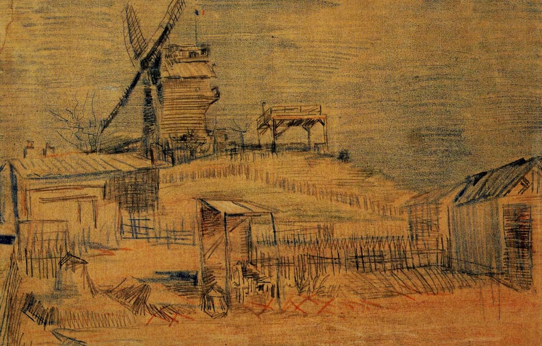 Фото обои Windmill, Винсент ван Гог, and the Blute-Fin, Gardens on Montmartre