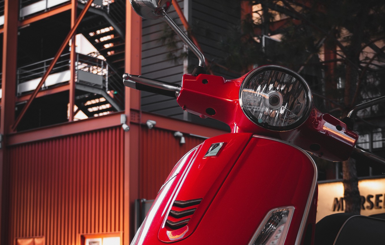 Фото обои red, building, Vespa, scooter, Piaggio