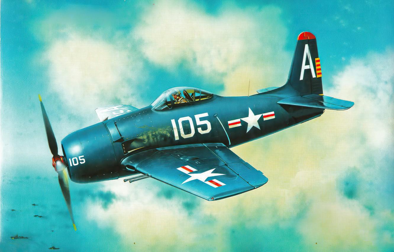 Фото обои art, airplane, aviation, f8f bearcat