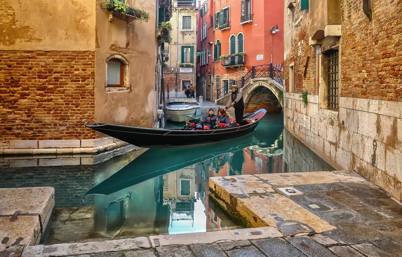 Обои лодка, канал, венеция. Города foto 6