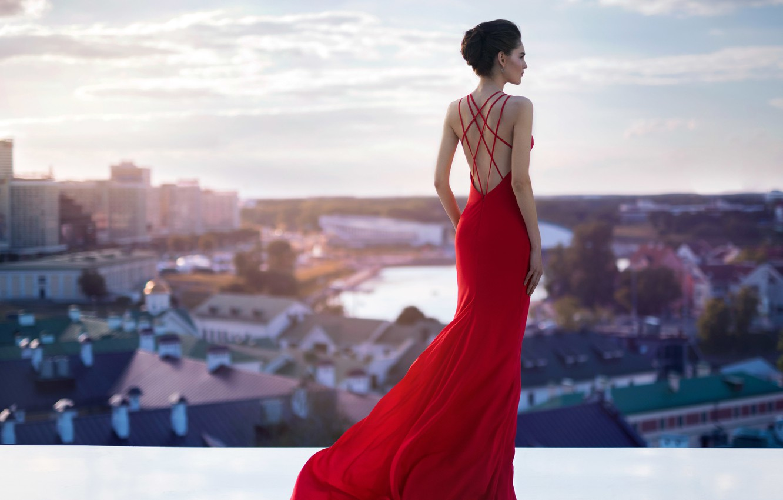 Фото обои город, модель, платье, панорама, мода