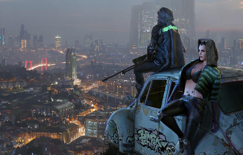 Фото обои город, фантастика, вид, арт, cyberpunk
