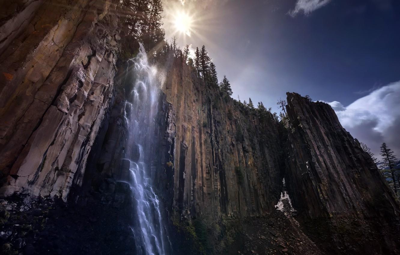 Фото обои природа, гора, водопад