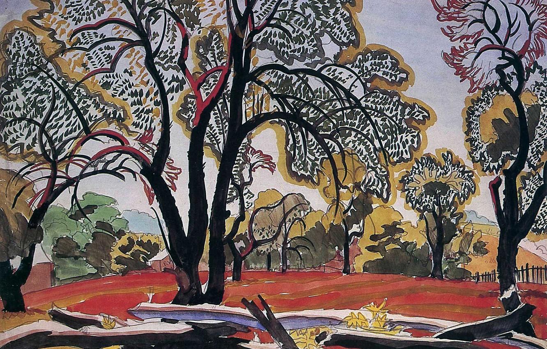 Фото обои 1916, Charles Ephraim Burchfield, Hot Morning Sunlight (Post`s Woods), Decorarive Landscape