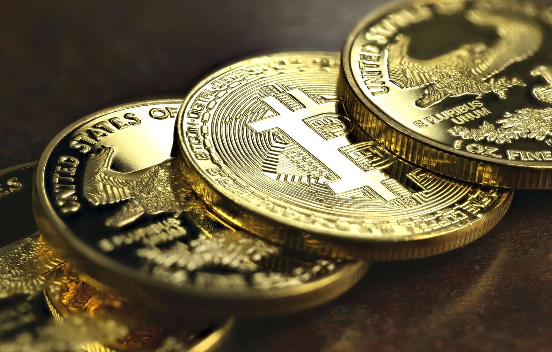 Фото обои размытие, лого, монеты, валюта, bitcoin, гурт, биткоин