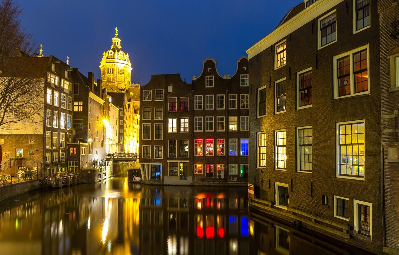 Фото обои ночь, city, город, lights, огни, река, Амстердам, panorama, night, Amsterdam, Голландия, Netherlands, cityscape, Canal
