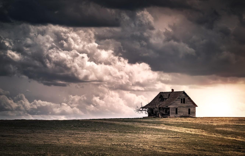 Фото обои поле, небо, дом