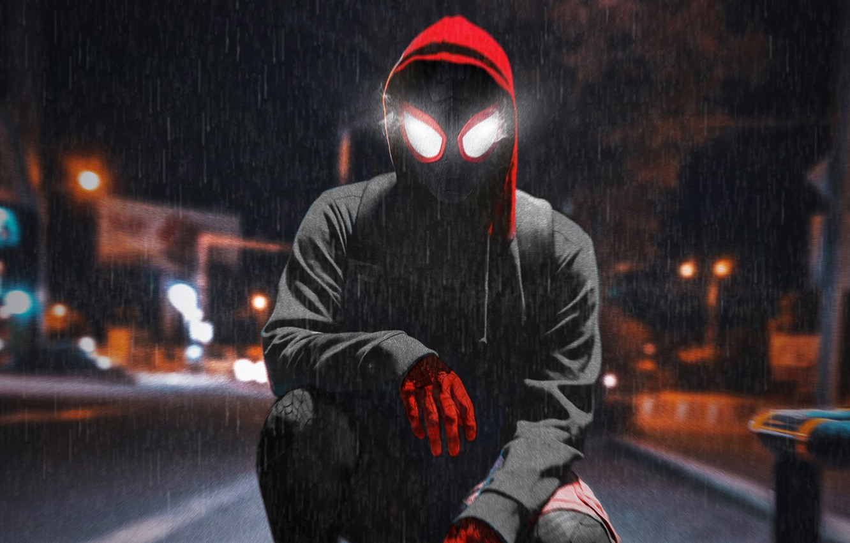 Фото обои ночь, дождь, куртка, человек паук, Spider-Man, Spider-Man Into the Spider-Verse