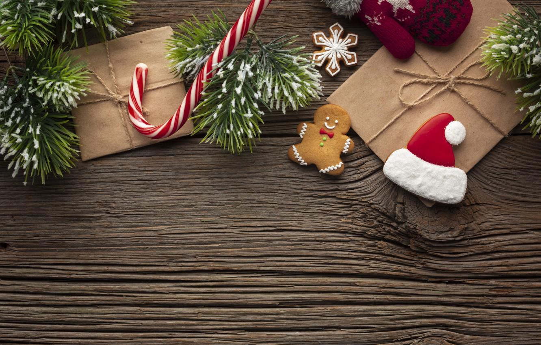 Фото обои украшения, печенье, Рождество, подарки, Новый год, new year, Christmas, wood, cookies, decoration, пряники, gingerbread, gift …
