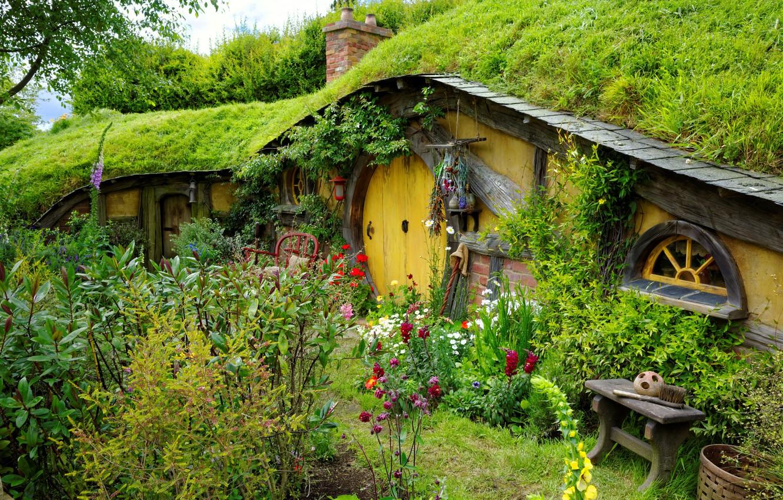Фото обои Цветы, Природа, Сад, Дверь, Шир, Хоббитон, Нора